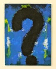 """""""god"""", 2014. acrylic on found cardboard"""