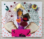 leather bag madonna and child, acrylic and found objects on wooden board (sold)