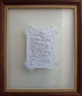 """""""i am scared you are not going to get me"""", 2015. CV, duct tape and found framed glass"""