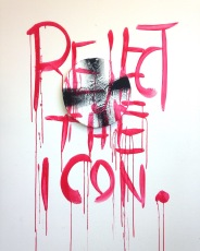 """""""reject the icon"""", 2016. installation and painting. acrylic and spray paint"""