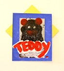 """teddy (hearts) you"", 2014. acrylic on photograph and found cardboard"